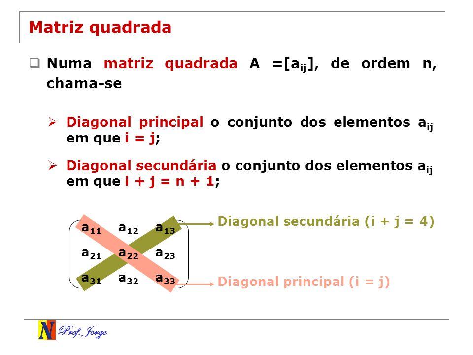 Matriz quadrada Numa matriz quadrada A =[aij], de ordem n, chama-se